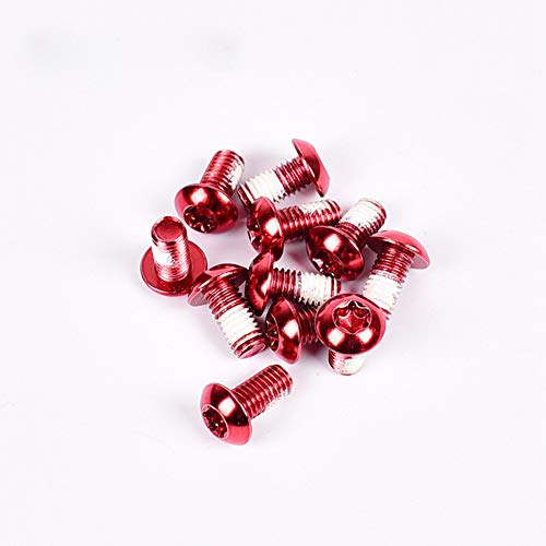 szkn 12PCS/Pack Colorful MTB Bike Bicycle Disc Brake Rotor Torx T25 Bolts Stainless Steel M510mm Road Bike Disc Brake Rotor Screws Red 12 / Box