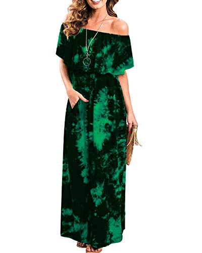 Aliling Tie Dye Dresses for Women, Elegant Boho Dress Side Split Long Maxi Beach Dress (L, Dark Green-2)