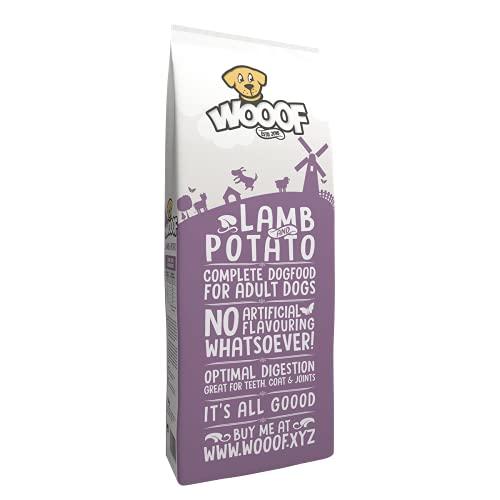 WOOOF Lamm und Kartoffel 18kg kaltgepresstes, getreidefreies Hundefutter | Purinarmes Trockenfutter Weizenglutenfrei, hoher Fleischanteil