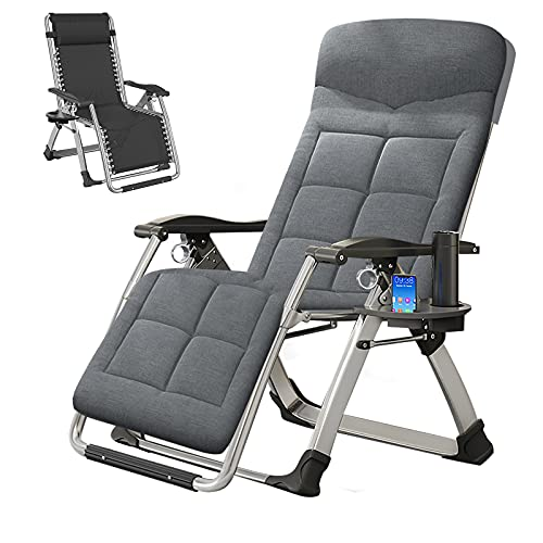 SLSY Zero Gravity Chair, Lounge Chair with Removable Cushion & Tray for Indoor and Outdoor, Ergonomic Patio Recliner, Folding Reclining Chair for Adults and Kids, Medium Gray