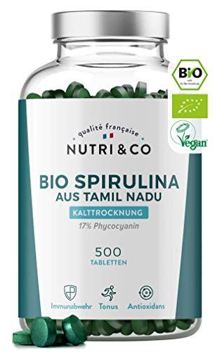 Bio Spirulina Presslinge | 500 Tabletten mit je 500mg reine Spirulina Alge | mit 17% Phycocyanin | Getrocknetes und Kaltgepresstes Pulver | Hochdosiert I Vegan I Laborgeprüft | Ohne Zusätze | Nutri&Co