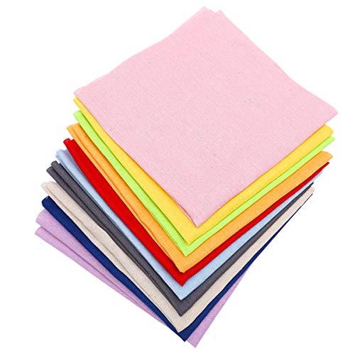 HEALLILY 10 Piezas de Tela de Costura de Lino Natural Tela de Lino de Color Sólido Tela de Yute de Cáñamo Tela Manteles de Punto de Cruz Artesanía Accesorios