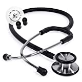 GreaterGoods Dual-Head Stethoscope, Classic Design for Routine Physical Assessing Basic Heart and Lung Examinations (Black Steel)