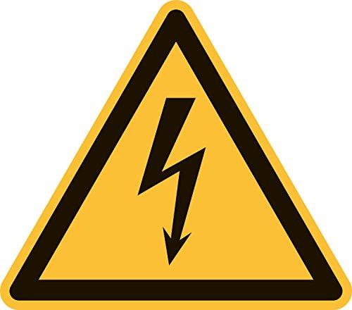 Warnung vor gefährlicher, elektrischer Spannung, PVC-Folie selbsklebend, 100 mm Seitenlänge, gemäß ASR A1.3 / ISO 7010 W012, Warnzeichen Aufkleber, 10 cm