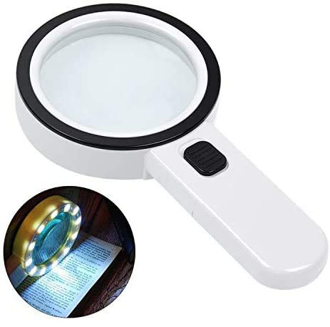 Magnifying Glass with Light, 30X Large Handheld Magnifying Glass 12 LED Illuminated Lighted Magnifier for Macular Degeneration, Seniors Reading, Soldering, Inspection, Coins, Jewelry, Exploring