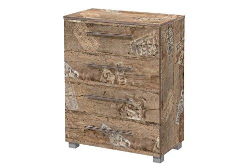Kommode, Anrichte, Sideboard, Schubkastenkommode, Schubladenkommode Panamaeiche, Vitage, B/H/T ca. 65/83/35 cm