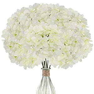 Elfii 10 Pack Silk Hydrangea Heads Artificial Flowers Heads with Stems for Home Wedding Party Decor Bride Holding Flowers Bouquet Baby Shower Decoration Centerpiece DIY Wreath Craft- Ivory White