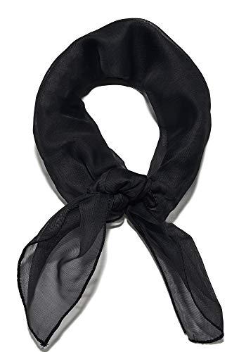 Sidecca Classic Chiffon Square Scarf-Black