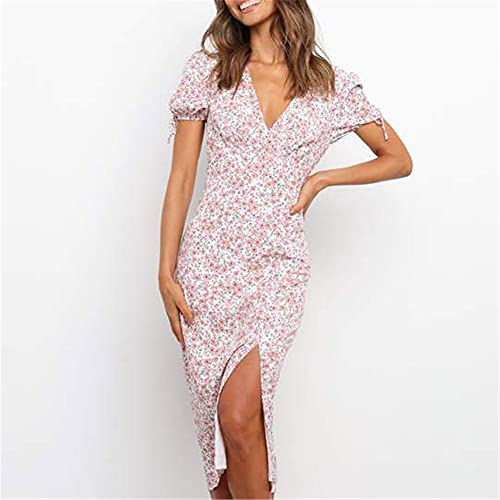 JFTMY Sommer Mode Urlaubskleid Damen Kurzarm V-Ausschnitt Gedruckt Lässig Split Mittellangen Kleid Komfortables Casual Rock Streetwear (Color : Pink, Size : Mcode)