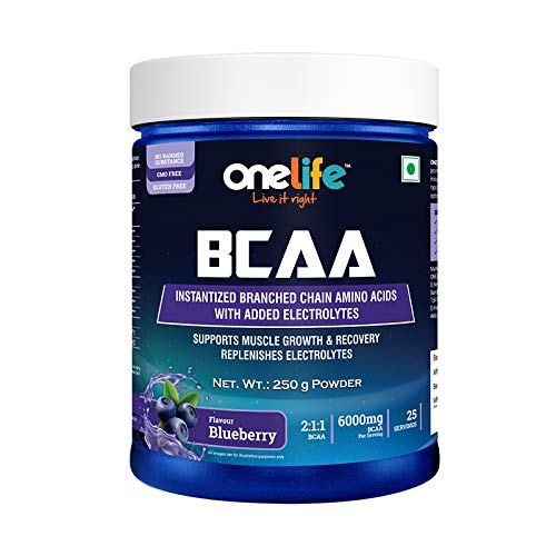 Onelife BCAA 6000mg During/Post Workout Supplement (Flavour - Blueberry, Net Wt- 250 G)