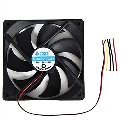 Chasis 1pcs 120mm 120x25mm 12v 4pin Corriente Continua Sin escobillas Ordenador Personal Fan de enfriamiento de la Caja de la computadora 180 0PRM CPU Cooler Drop Shipping Accesorios (Color : Black)