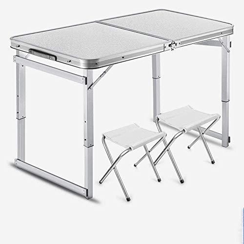 VIVOCC Tabla portátil de Mesa Plegable pequeña para Acampar, Altura Ajustable con sillas Plegables Mesa al Aire Libre para Picnic, Barbacoa, Playa, Fiesta, Viajar t (Color : Blanco)