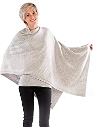 cashmere 4 U Woman 100% Pure Cashmere Knitted Multi Use Shawl with Buttons