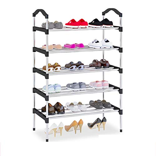Yyqx Zapatera Organizador de almacenaje Derecho del Estante de Zapato de 5 Niveles, Estante de Zapato del Acero Inoxidable Zapatero (Color : Black)