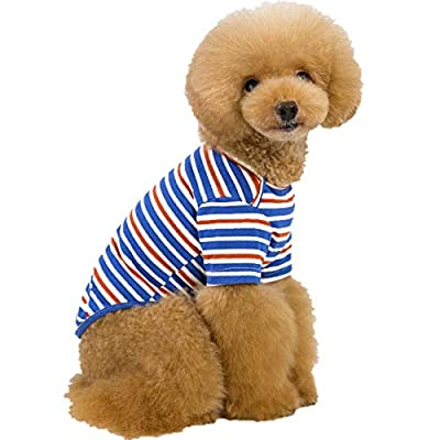 Berocia Cat Puppy Dog T-Shirt Clothes Cottom Pet Striped T Shirt Costumes Summer Stripes Outfit Dog Apparel Sun Protection Soft and Breathable for Small Medium Large Dogs