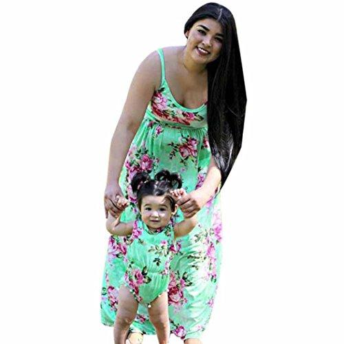 LUCKDE Mutter und Tochter Kleid, Baby Kleidung Strampler Mädchen Jumpsuit Kurz Sommer Spielanzug Sommerkleider Damen Abendkleider Matching Outfits Mother Daughter (M, Grün (Mutter))