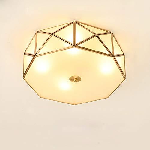 Modern Deckenleuchte, Golden Polygon Design Schlafzimmerlampe, 4 - Flammig Wohnzimmerlampe, mit Glas Lampenschirm, mit E27 Fassung Max. 40W Deckenlampe für Esszimmer Arbeitszimmer Licht, Ø35 cm