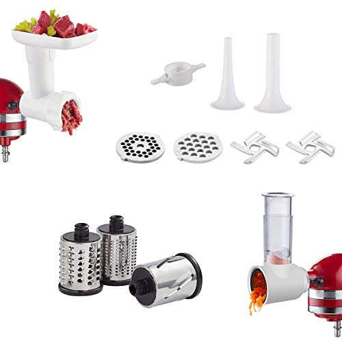 Slicer/Shredder & Food Grinder Attachments for KitchenAid Stand Mixers, 2 in 1 combo set with 2 Sausage Stuffer Tubes, 3 Cutting Blades, 2 Grinding Plates (White)