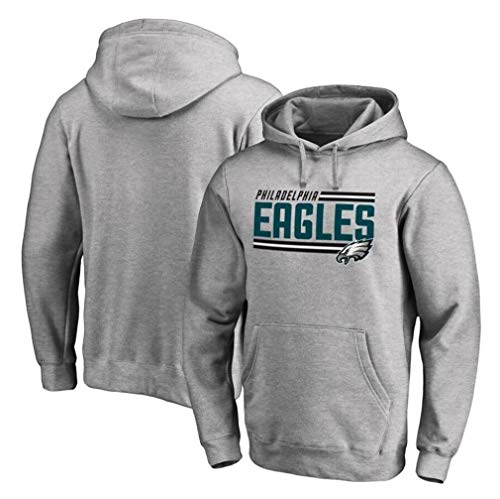 FMSports Men's Hoodies - NFL Philadelphia Eagles Football Team Uniform Pullover Hoodies,Long Sleeve 3D Logo Print Sweatshirt Grey,M~165~170CM