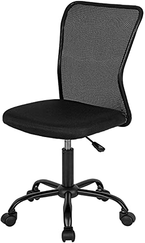 Home Office Chair Mid Back Mesh Desk Chair Armless Computer Chair Ergonomic Task Rolling Swivel Chair Support Adjustable - Limited Edition! (Premium/Black)