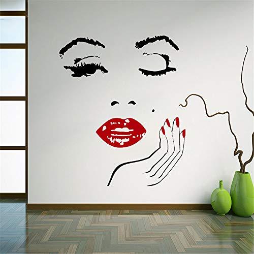 pegatinas de pared mariposas Sexy Star Marilyn Monroe Girls Face con labio rojo y clavo Vinilos decorativos Salón Decoración para el hogar