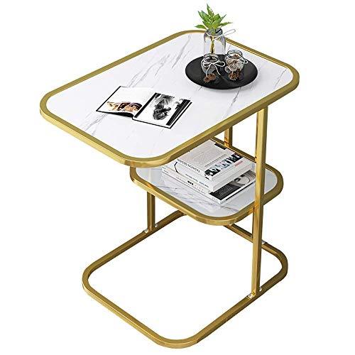 Mesas de café MISLD con marco de metal de 2 niveles y diseño industrial, fácil de montar para sala de estar, dormitorio, pasillo, negro (color: dorado)