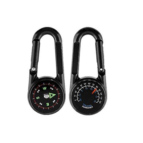 About1988 Karabiner Schlüsselanhänger, 3 in 1 Mini Karabiner Schlüsselanhänger Kompass Thermometer, Karabinerhaken für Camping, Angeln, Wandern Oder Reisen (Schwarz)