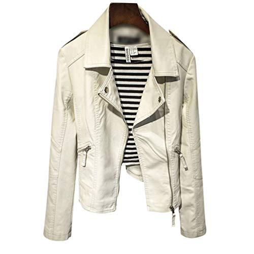 TianBin Chaquetas de Cuero PU para Mujer Otoño Invierno Vintage Remache Ropa de Abrigo Outwear