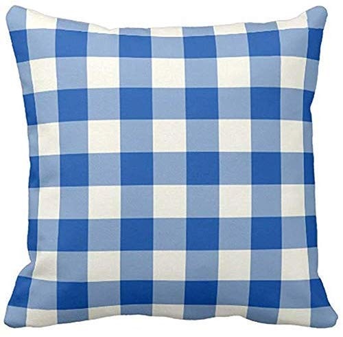 GFGKKGJFF Colorful Garden Cobalt Blue Gingham Patio Canvas Cushion Covers 18 x 18 Living Room Decor Throw Pillow Case Covers for Sofa