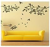 BDECOLL Decalcomanie a muro di albero con uccelli Stickers murali Vinile Sticker Nursery Soggiorno Bastoni da parete (Nero)
