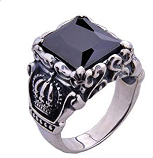 Men ring flashed crown black agate Size 12
