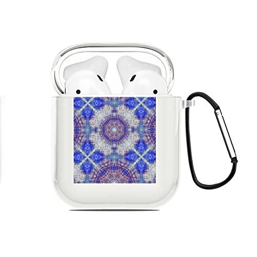 Funda AirPods diseñada para AirPods 2y1,Azulejos de cerámica geométricos arabescos étnicos Vintage de Patrones sin Fisuras,Funda de Silicona Protectora Completa con Llavero