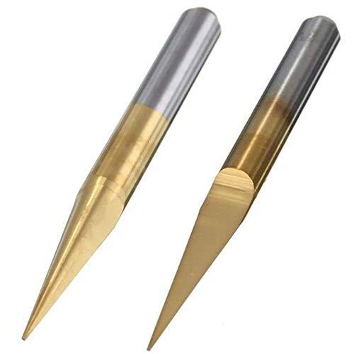 ZUQIEE Taladro, 5pcs de perforación de 0,1 mm PCB pedacitos del Grabado de 10 Grados PCB Brocas de carburo de Titanio Recubierto Planas Accesorios de perforación Inferior