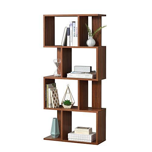 [en.casa] Bücherregal Regal Standregal Medienregal Aktenregal Aufbewahrung Büro Walnuss
