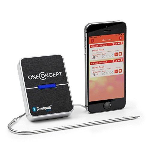 oneConcept Meatmaster - Grill-Thermometer, Bratenthermometer, Fleisch-Thermometer, 4.0 Bluetooth-Verbindung, Temperaturüberwachung per App, geeignet für Android Smartphones & -Tablets, schwarz
