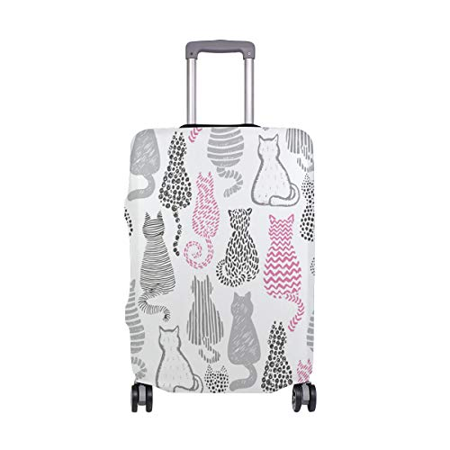 Orediy Elastic Travel Luggage Cover Grey and Pink Cat Print Trolley Case Suitcase Protector(Without Suitcase) S M L XL Size
