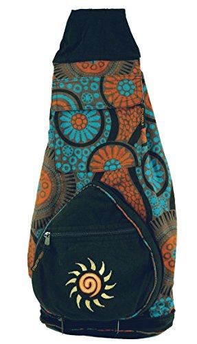Guru-Shop Ethno Rucksack, Patchwork Schultertasche - Türkis/orange, Herren/Damen, Baumwolle, Size:One Size, 45x25x20 cm, Ausgefallene Stofftasche