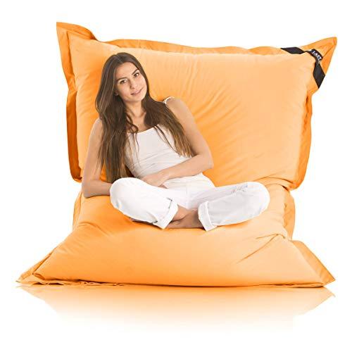 Lazy Bag Original Indoor & Outdoor Sitzsack XXL 400L Riesensitzsack Sitzkissen Sessel für Kinder & Erwachsene 180x140cm (Orange)