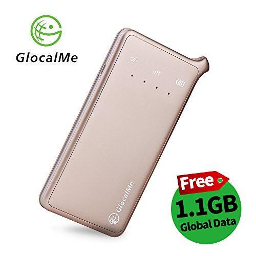 GlocalMe U2 Mobiler WLAN Router, 4G LTE Router mit 1GB globalen Daten, Keine SIM-Karte nötig, 3500mAh Akku, Internationaler Hotspot für 144 Länder (Gold)