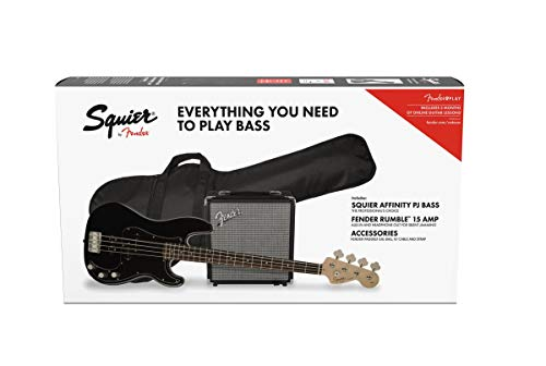 Fender Squier Affinity Precision Bass PJ Laurel Black + Funda + Rumble 15. Pack Bajo Eléctrico