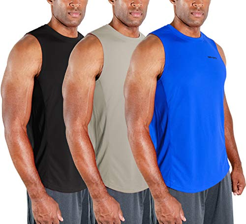 DEVOPS Men's 3 Pack Cool Dry Fit Muscle Sleeveless Gym Training Performance Workout Tank Top (Large, Black/Blue/Gray)