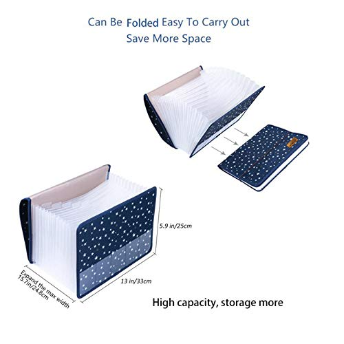 Expanding File Folder Document Organizer/File Organizer A4 Accordion Expandable Filing Folders with Cover 13 Pockets Expander Storage for Office/Business/School/Family Bill Paperwork Photo #2