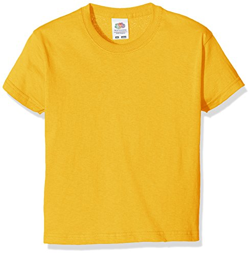 Fruit of the Loom Jungen T-Shirt, Yellow (Sunflower Yellow), 7-8 Jahre (128)