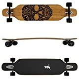 FunTomia Longboard aus Bambus und Ahornholz in 3 Flexstufen - Drop Through Komplettboard mit Mach1 High Speed Kugellager + T-Tool
