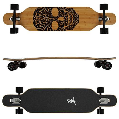 FunTomia Longboard aus Bambus und Ahornholz in 3 Flexstufen - Drop Through Komplettboard mit Mach1 High Speed Kugellager + T-Tool
