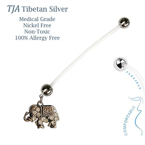 Baby Elephant Gender Reveal BioFlex Flexible Maternity Pregnancy Pregnant Navel Bio Flex Belly Ring Retainer. Nickel and Allergy Free - 14G