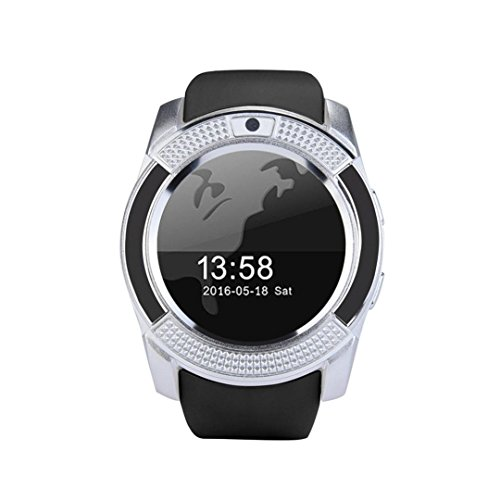 STRIR Bluetooth Smartwatch, Classic Ronda de IPS Pantalla Táctil Reloj Inteligente,Fitness Tracker, podómetro, Monitor de sueño,Cámara remota, Notificación de Mensajes para Android e iOS (Silver)
