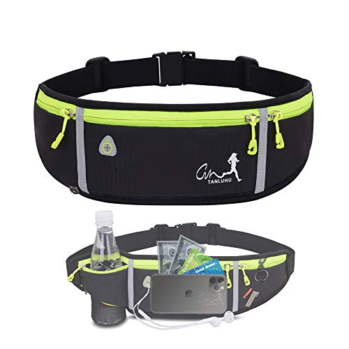 Running Belt,Water Resistant Runners Belt Fanny Pack for Women Men, Waist Bag for Hiking Fitness Travel - Adjustable Running Pouch Belt Fits Phones iPhone 11 pro max Xs x 6 7 8 Plus Samsung S10(black)