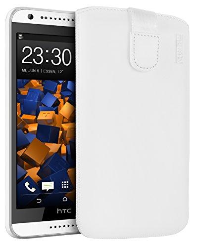 mumbi Echt Ledertasche kompatibel mit HTC Desire 620 Hülle Leder Tasche Hülle Wallet, Weiss