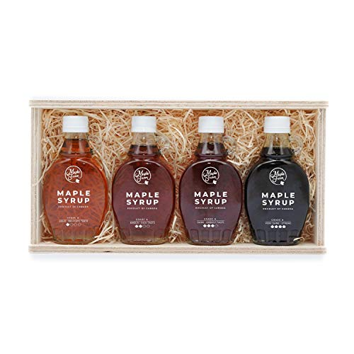 MapleFarm - Puro sciroppo d'acero in confezione regalo. Pack degustazione 4 varianti: GOLD - AMBER - DARK - VERY DARK. Astuccio regalo in legno di 4 bottiglie da 250g